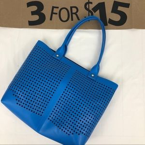 Blue Tote Bag with Canvas Zipper Pouch
